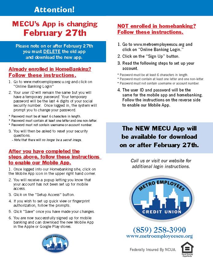 Mecu Home Banking Metro Employees Credit Union